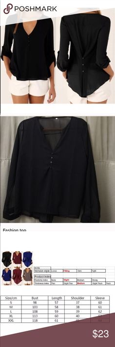 Fashion top 100% brand new and high quality  Two ways of wearing: back 3 buttons fastened to slim your waist back 3 buttons unfastened to switch to a much looser style- Leisure and comfy  Elegant and graceful, suitable for everyone  Occasion: Casual, office, conference, etc   Material: Chiffon  XL/1xl Tops Blouses