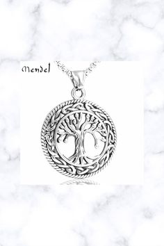 Stainless Steel Celtic Tree of Life Pendant Necklace Irish Knot Silver