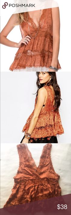Free People Trapeze Tank Gorgeous honey-golden lace tank from Free People! Please not that the size tag has been cut because it was visible through the lace, but this is an XS. Perfect for showing off a strappy bralette underneath! Free People Tops