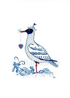 Original Illustration watercolor and ink Seagull by SzufladaDany, zł100.00