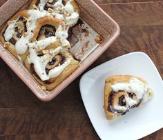 Nutella Sweet Rolls with Cream Cheese Glaze and Toasted Hazelnuts