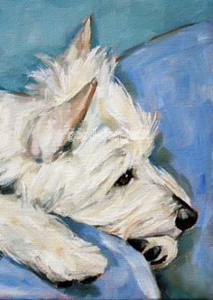 "West Highland Terrier ACEO Westie Print Painting ""Just Thinking"" Dog Art by Denise Randall"
