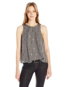 Joie Women's Kastra B Metallic Blouse, Granite, M. Metallic. Sleeveless.