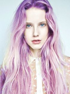 Pastel purple hair - lighten to pale yellow before dyeing for this sort of colour