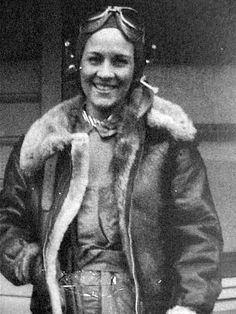 American pilot Margaret Ray (WASP) in flying gear, date unknown ~