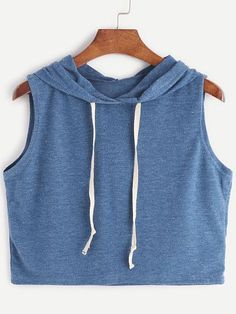 Blue Hooded Crop Tank Top