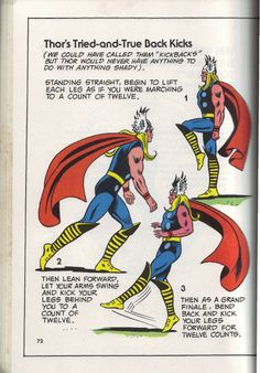 """Thor's Tried-and-True Back Kicks"" from The Mighty Marvel Comics Strength and Fitness Book"
