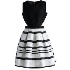 Chicwish Fancy Stripes Cutout Dress (80 135 LBP) ❤ liked on Polyvore featuring dresses, vestidos, short dresses, robes, black, fancy short dresses, dressy dresses, cutout dresses, cut out dresses and cutout mini dress