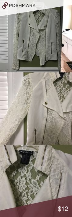 Wet Seal Lace Moto Jacket Cream with gold detail. 100% perfect condition, bought & didn't wear it once. Wet Seal Jackets & Coats