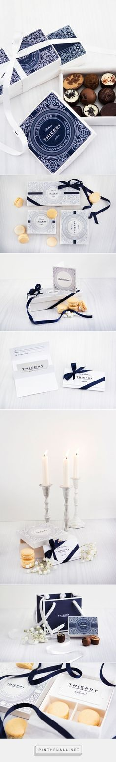 Branding, graphic design and packaging for Thierry on Behance by Linnea Djurberg Karlstad, Sweden curated by Packaging Diva PD. A new face for Thierry Chocolaterie, to get them to embrace the French c (Chocolate Box Packaging) Packaging Box Design, Pretty Packaging, Packaging Design Inspiration, Brand Packaging, Box Packaging, Graphic Design Inspiration, Coffee Packaging, Product Packaging, Graphic Design Branding