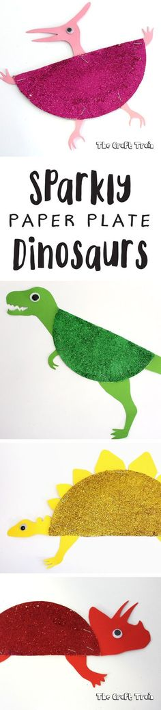 Sparkly paper plate dinosaur craft with free printable template
