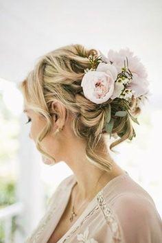 Blond + Floral + Messy Bun + Waves