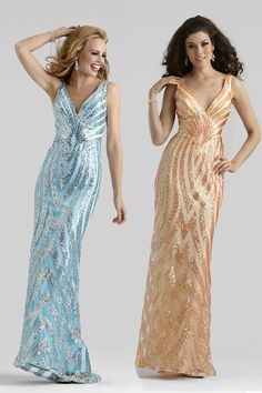Clarisse 2014 Pink/Silver, Blue/Silver, Apricot V-Neck Sequins Long Fitted Formal Gown 2325 | Promgirl.net