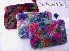 Nepal felted coin purse leaf design★