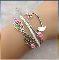 Hamsa braceletpink rope braceletlittle bird by Youchic on Etsy, $3.99