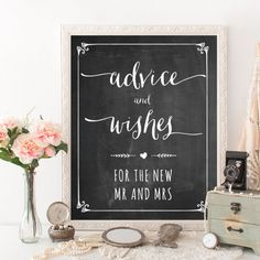 Get this free printable chalkboard advice and wishes sign for your wedding.