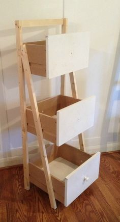 A Tutorial for making your own DIY Ladder Shelf Organizer using leftover dresser drawers. Repurposed Furniture, Rustic Furniture, Diy Furniture, Furniture Market, Furniture Dolly, Furniture Companies, Unique Furniture, Laundry Craft Rooms, Ladder Shelf Diy