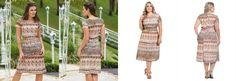 Vestido Midi Mix de Estampa Moda Evangélica