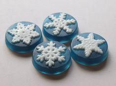 Set of 4 Snowflake Soaps  white on dark by MilkandHoneybyAndrea