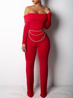 10d4f071b41 Fold Over Off Shoulder Long Sleeve Jumpsuits Bodycon Jumpsuit