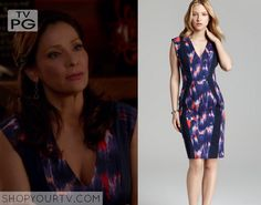 Switched at Birth: Season 4 Episode 10 Regina's Blue Abstract Print Dress