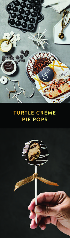 Turtle Crème Pie Pops. These Crème Pie Pops are hard to top! Get the full recipe here: https://www.edwardsdesserts.com/recipes/recipe-turtle-creme-pie-pops.html