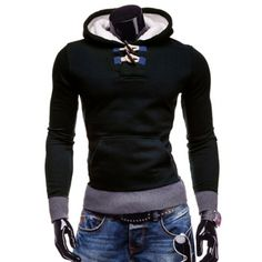 15.18$  Watch now - http://di4me.justgood.pw/go.php?t=142006903 - Slimming Hooded Trendy Horn Button Patched Splicing Long Sleeve Polyester Men's Hoodie 15.18$