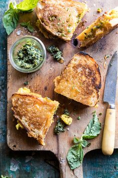 Breakfast Grilled Cheese with Soft Scrambled Eggs and Pesto | halfbakedharvest.com #breakfast #brunch #grilledcheese