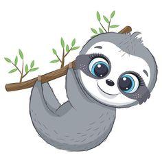 Sloth Cartoon, Baby Cartoon, Cute Cartoon, Cute Animal Clipart, Cute Clipart, Baby Sloth, Cute Sloth, Cute Small Animals, Cute Baby Animals