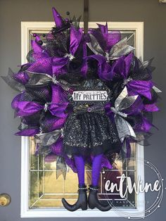 Halloween Witch Wreath, Purple and Black Glitter Wreath, Come in My Pretties Witch Wreath, Fall Fron Halloween Door Wreaths, Halloween Deco Mesh, Diy Halloween Decorations, Halloween Ideas, Halloween Garland, Halloween Tricks, Halloween Displays, Outdoor Decorations, Halloween Stuff