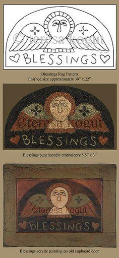 """Blessings rug pattern by Teresa Kogut - she has very """"sweet, primitive patterns""""!"""