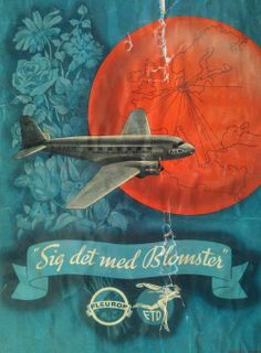 1950's Danish Poster Ad 'Say It With Flowers'  The above Danish poster is a joint advertising campaign of KLM and Fleurop, also known as Interflora.