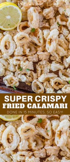 Crispy Fried Calamari is a delicious and easy appetizer to make that you'll love served with lemon or marinara sauce. | #calamari #fried #appetizer #dinnerthendessert #fish #seafood #squid #italian #italianrecipes #easy #recipe