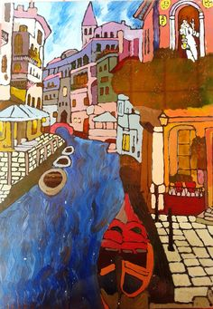 Venice (special order with Panoramix on top) Painting 42cm x 30cm