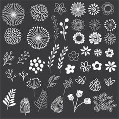 This chalkboard style floral set includes 43 hand drawn elements! Use these beautiful elements to easily create unique stationery, decorations, labels, and more! All elements are high quality files files, suitable for print or digital projects. Art Clipart, Image Clipart, Vector Clipart, Chalkboard Doodles, Chalkboard Fonts, Chalkboard Designs, Chalkboard Clipart, Chalkboard Ideas, Chalk Lettering