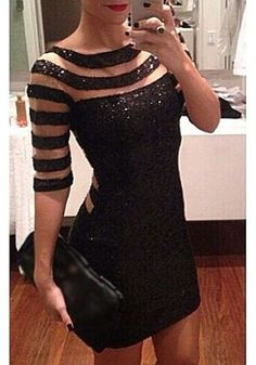 Black Patchwork Grenadine Sequin Dress