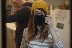 stripes and a camera