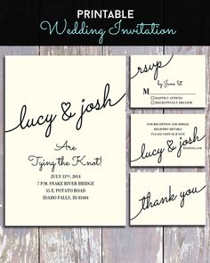 Printable Cursive Handwritten Wedding Invitation and Information Cards on Etsy, $35.09 AUD