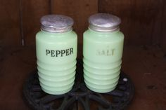 Rare Salt And Pepper Shakers | Rare Vintage Jadite Salt and Pepper Shakers by MommyLovesVintage