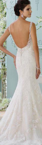 Vestido de novia escotado, moda primavera 2016. David Tutera.