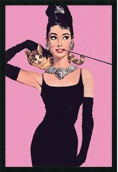 """0-028400>25x37"""" Audrey Hepburn Pink Framed Print"""