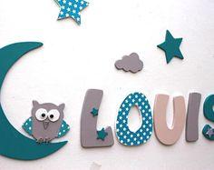 Lettres en bois peinte de 20 cm existe en 8 cm de couleurs bleu canard turquoise gris - Tenture chambre bebe ...