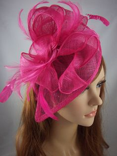 71d77a9825201 Fuchsia Pink Teardrop Sinamay Fascinator with Feathers - Wedding Races Special  Occasion Hat. Blue LeavesFlower ...