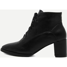 Black Faux Leather Pointed Toe Lace Up Chunky Boots (2,730 INR) ❤ liked on Polyvore featuring shoes, boots, lace up boots, black shoes, vegan boots, black pointy toe boots and chunky lace up boots