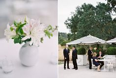 Black Tie Wedding at Durham Ranch... Details outside black & white umbrella' s for guest's to sit and stay cool. Great idea and works the theme!