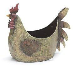 Tin Rooster Planter - Chicken Garden Decorations: Presents for Chicken Lovers