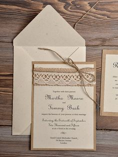 Lace Eco Recycling Paper Wedding Invitation by DecorisWedding