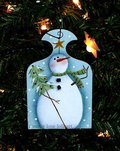 snowman ornament Christmas ornament hand by countrylanefolkart