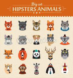 милые хипстерские животные моды векторных символов — Векторная картинка #63987533