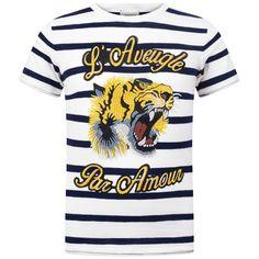 GUCCI Boys White & Navy Striped Tiger Top